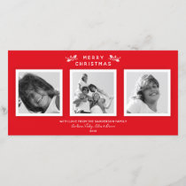 Simple Modern Red   White Merry Christmas 3 Photo Holiday Card