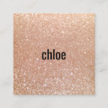 """Simple Modern Rose Gold Glitter Makeup Artist Square Business Card<br><div class=""""desc"""">Clean and simple design featuring digital image of rose gold glitter background. For additional matching marketing materials,  custom design or logo inquiry,  please contact me at maurareed.designs@gmail.com and I will reply within 24 hours. For shipping,  cardstock inquires and pricing contact Zazzle directly.</div>"""