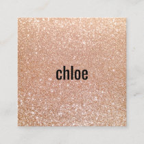 Simple Modern Rose Gold Glitter Makeup Artist Square Business Card