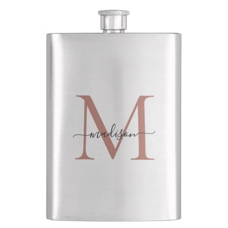 Simple Modern Rose Gold Monogram Girly Script Name Flask