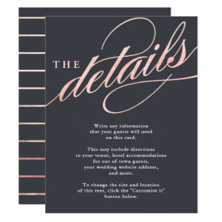 Simple Modern Rose Gold Script Insert Cards