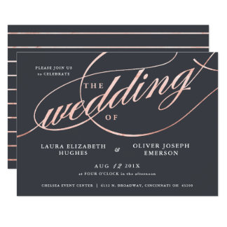 Simple Modern Rose Gold Script Wedding Card