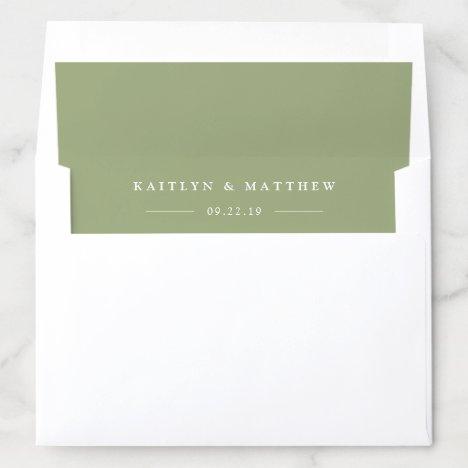 Simple Modern Sage Green Wedding Envelope Liner
