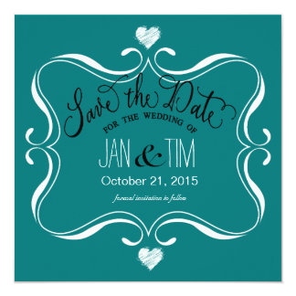Simple Modern Save the Date | teal white Card