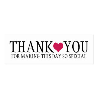 Simple Modern Thank You with Cute Pink Heart Double-Sided Mini Business Cards (Pack Of 20)