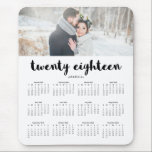 "Simple Modern Typography 2018 Photo Calendar Mouse Pad<br><div class=""desc"">This simple yet elegant 2018 calendar mouse pad features modern typography that reads &quot;twenty eighteen&quot;,  with room for you to personalize with your name and a favorite photo.</div>"