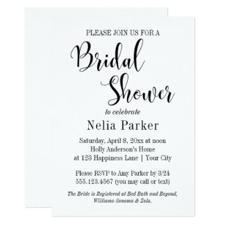 Simple Modern Typography Bridal Shower 4 Card