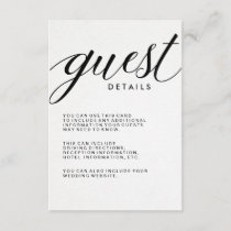 Simple Modern Typography Guest Information Enclosure Card