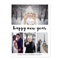 Simple Modern Typography Happy New Year with Photo Postcard