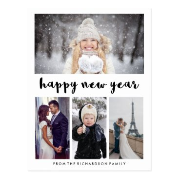 christine592 Simple Modern Typography Happy New Year with Photo Postcard