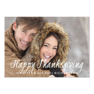 Simple Modern Typography Happy Thanksgiving Photo Card