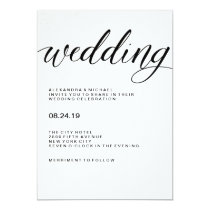 Simple Modern Typography on Watercolor Paper Invitation