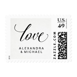 Simple Modern Typography on Watercolor Paper Love Postage Stamp