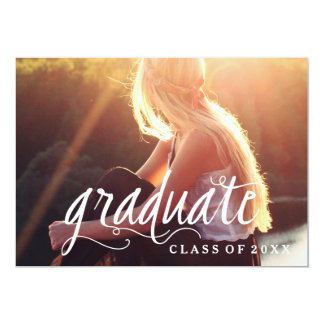 Simple Modern Typography Photo Graduation Party Card