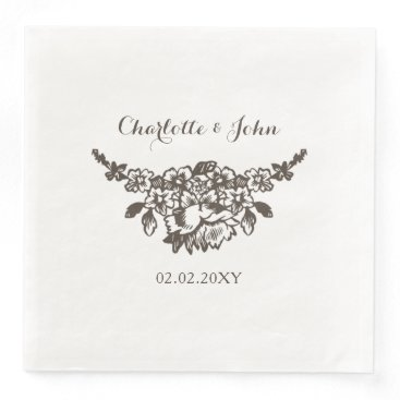 simple modern vintage wedding paper dinner napkin
