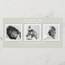 Simple Modern Warm Gray 3 Photo Merry Christmas Holiday Card