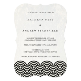 Simple Modern Waves Black + White Beach Wedding Card