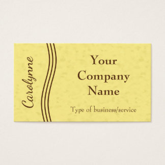 Simple Modern Wavy Lines Bright Yellow Business Card