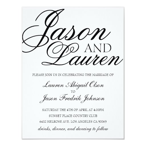 Simple Modern Wedding Invitations Yaseen for
