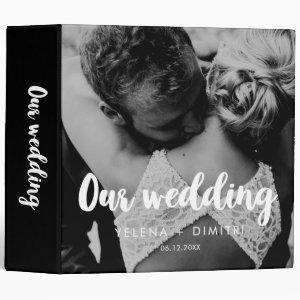 Simple modern wedding photo album binder