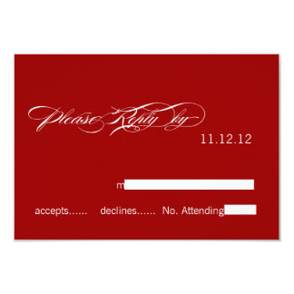 "SImple Modern Wedding RSVP Cards Red White 3.5"" X 5"" Invitation Card"
