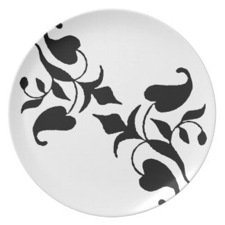 Simple Modern White Black Vine Dinner Plate
