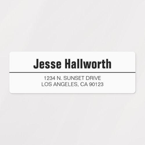 Simple Modern White & Black Waterproof Address Labels
