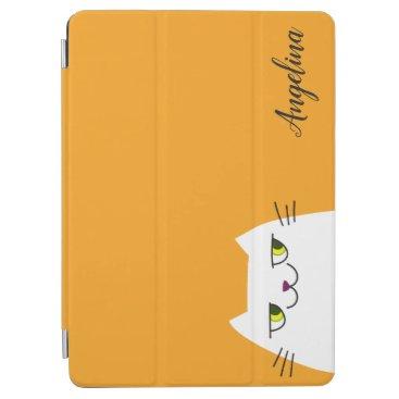 Simple Modern White Cat Cartoon Yellow Monogrammed iPad Air Cover