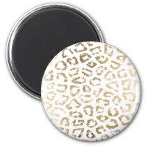 Simple modern white chic faux gold cheetah print magnet