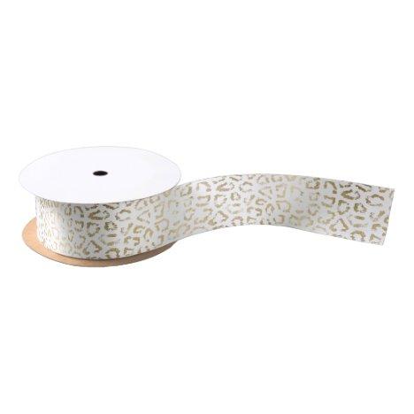 Simple modern white chic faux gold cheetah print satin ribbon