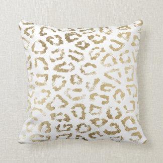 Simple modern white chic faux gold cheetah print throw pillow