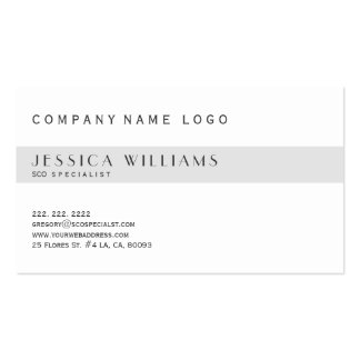 Simple Modern White & Light Gray SEO Specialist Business Card