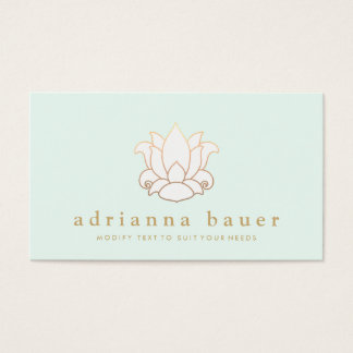 Simple Modern White Lotus Flower Floral Business Card