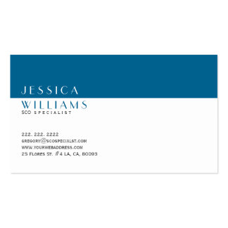 Simple Modern White & Navy Blue SEO Specialist Business Card