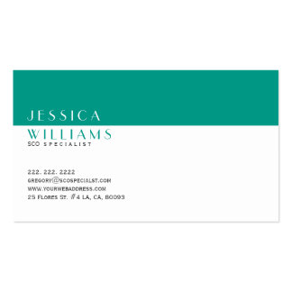 Simple Modern White & Peacock-Green SEO Specialist Business Card