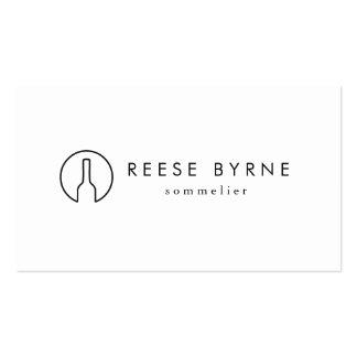 Simple Modern Wine Bottle Logo Sommelier White 2 Business Card