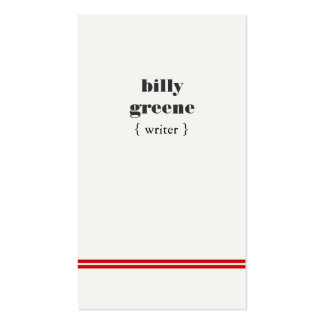 Simple Modern Writer's Red Stripes Hip Double-Sided Standard Business Cards (Pack Of 100)