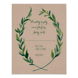 """Simple moderno de la rama verde oliva de la hoja invitación 4.25"""" x 5.5"""""""