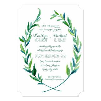 Simple moderno de la rama verde oliva de la hoja invitación 12,7 x 17,8 cm