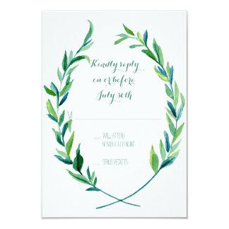 """Simple moderno de la rama verde oliva de la hoja invitación 3.5"""" x 5"""""""