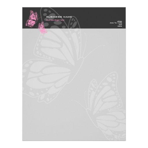 Simple moderno elegante rosado y gris de la maripo membrete personalizado