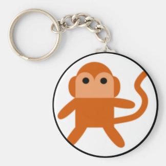 Simple monkey basic round button keychain