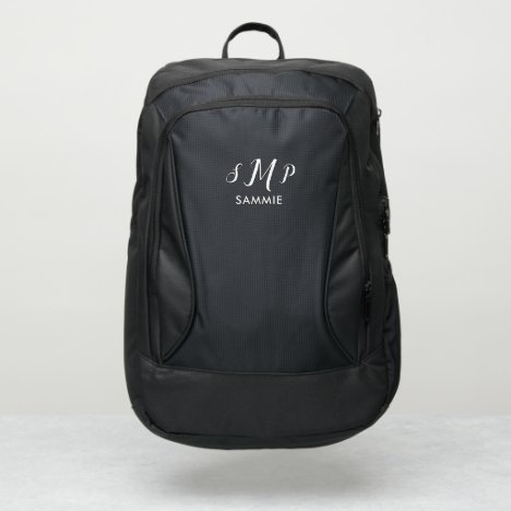 Simple Monogram 3 Initials and Name, Personalized Port Authority® Backpack