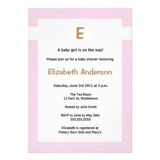 simple monogram baby shower invitation girl zazzle