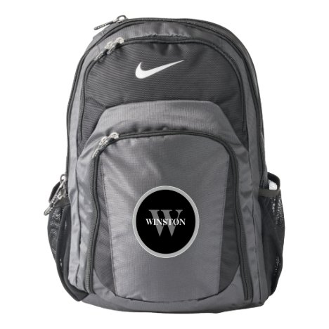 Simple Monogram Black Circle with name Backpack