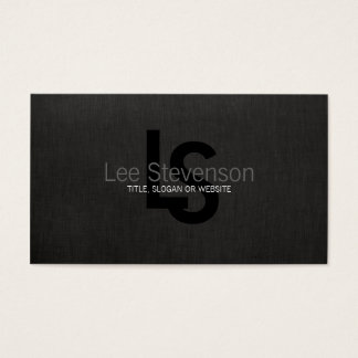 Simple Monogram Black Linen Look Professional Business Card