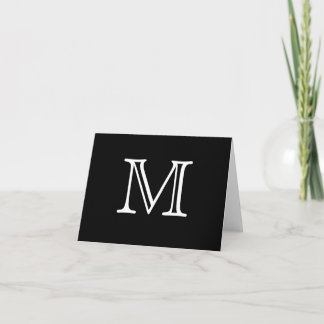 Simple Monogram Black White Blank Inside Note Card