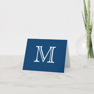 Simple Monogram Blue White Blank Inside Note Card