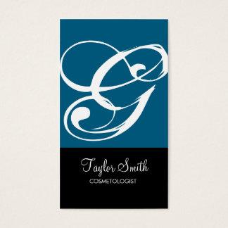 Simple Monogram Business Card (Dk Cyan)