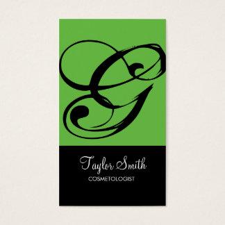 Simple Monogram Business Card (Lime)